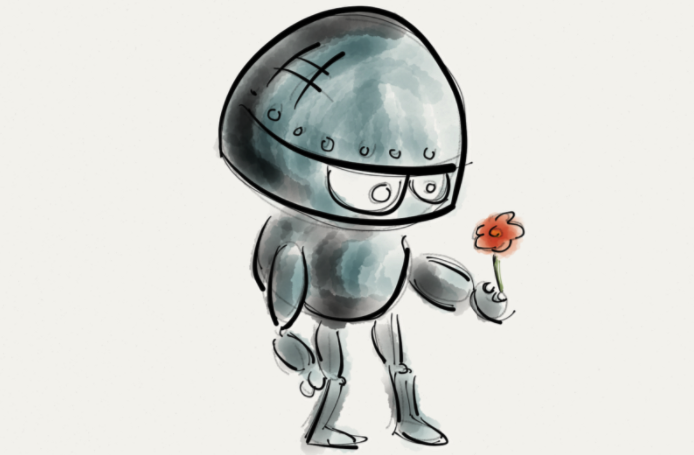 robot with flower